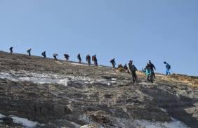 Climbing down Ol Doinyo Lengai