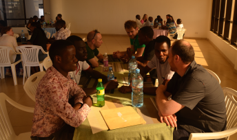 Lunch at Dodoma University, meeting between Glasgow Earth Science students and students from Dodoma University